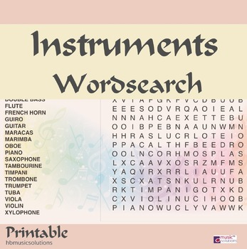 Instruments Wordsearch