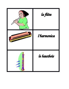 Instruments musicaux (Musical Instruments in French) Concentration games