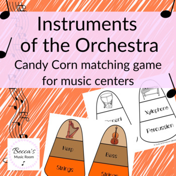 Instruments of the Orchestra Candy Corn Matching Game for Fall Music Centers