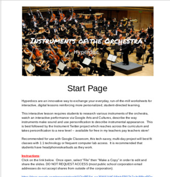 Instruments of the Orchestra Hyperdoc