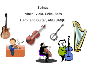 Instruments of the Orchestra- Presentation, Oral Quiz and Jeopardy Game