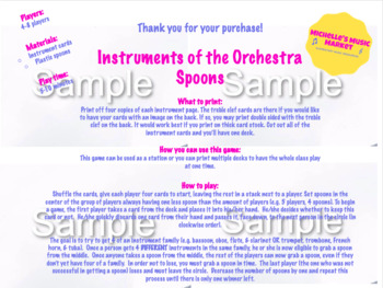 Instruments of the Orchestra Spoons Card Game