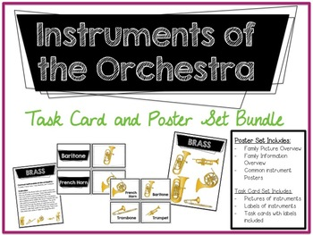Instruments of the Orchestra Task Cards and Poster Set