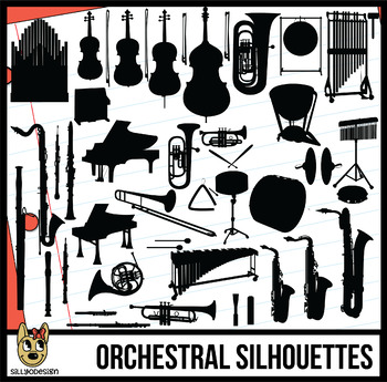 Instruments of the Orchestra and Band Clip Art Silhouettes