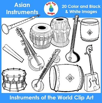 Instruments of the World - Asian Instruments Clip Art