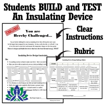 STEM Insulator Device Design Challenge Project Activity MS-PS3-3 (Heat Project)