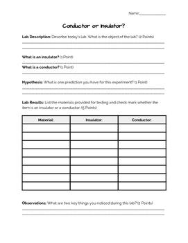 Insulator or Conductor Lab Report