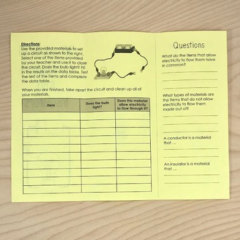 Insulators and Conductors of Electricity Investigation Foldable