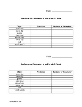 Insulators and Conductors in a Circuit Notebook Table