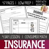 Insurance Lesson Unit Consumer Math Life Skills Special Education