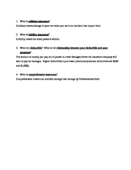 Insurance Overview Worksheet - types, how it works, questions