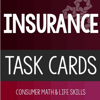 Insurance Task Cards High School Special Education