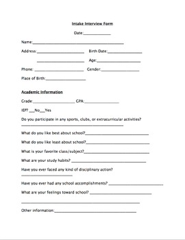 Intake interview form by educprek12 teachers pay teachers for Student intake form template