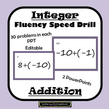Editable Integers Addition Fluency - 2 PowerPoints