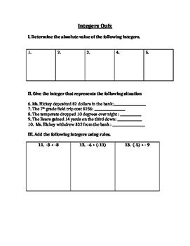 Integer  Absolute value Quiz