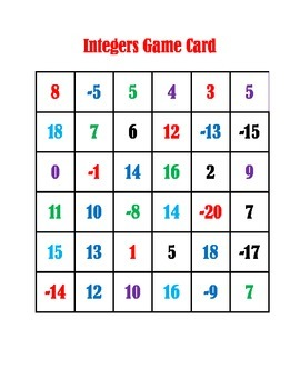 Add and Subtract Integers Activity In Color