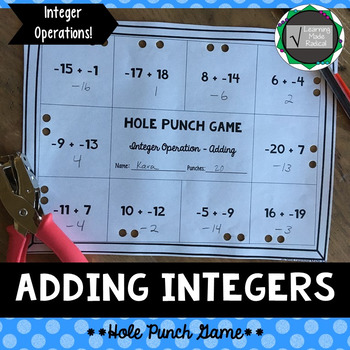 Integer (Adding) Operation Hole Punch Game 7.NS.A.2