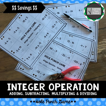 Integer (Adding, Subtracting, Multiplying & Dividing) Operation Hole Punch Game