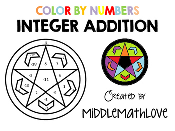 Adding Integers Worksheet - Color by Numbers