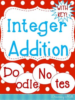 Integer Addition Doodle Notes