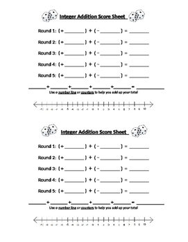 Integer Addition Game
