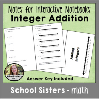 Integer Addition Notes for Interactive Notebook