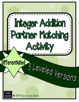 Integer Addition Partner Matching Activity - Differentiated