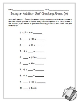 Integer Addition Self-Checking Worksheets - Differentiated