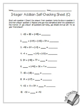 Adding Integers Self-Checking Worksheets - Differentiated