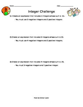 Integer Addition & Subtraction Challenge