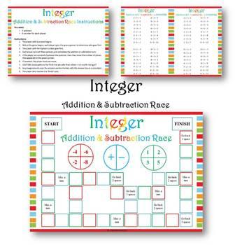 Integer Addition & Subtraction Math Center/ Station