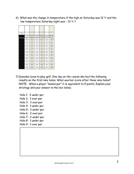 Integer Addition, Subtraction, Multiplication and Division Quick Checks