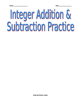 Integer Addition & Subtraction Practice