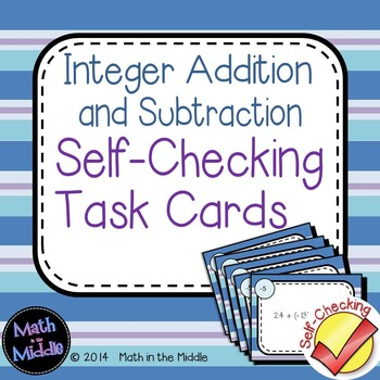 Integer Addition & Subtraction Self Checking Task Cards