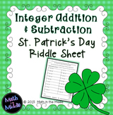 Integer Addition & Subtraction St. Patrick's Day Riddle Sheet