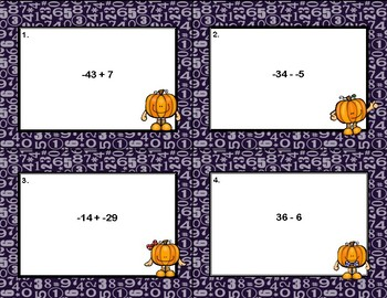 Integer Addition & Subtraction Task Cards-Grades 7-8 CCSS.MATH.CONTENT.7.NS.A.1