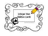Integer Addition War - Freebie!