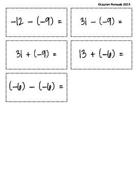 Integer Addition and Subtraction BINGO