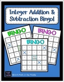 Adding and Subtracting Integers Math Bingo - Math Review Game