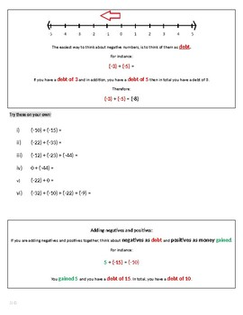 Integer Addition and Subtraction Study Guide