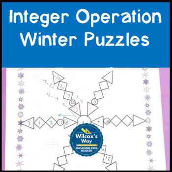 Integer Addition and Subtraction Puzzles Winter Themed by Wilcox\'s Way