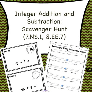 Integer Addition and Subtraction Scavenger Hunt (7.NS.1, 8.EE.7)