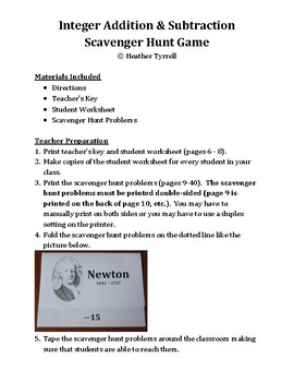 Integer Addition and Subtraction Scavenger Hunt Game