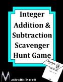 Integer Addition and Subtraction Scavenger Hunt Game