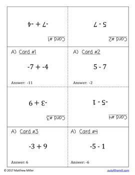 Integer Addition and Subtraction Speed Dating (7.NS.1)