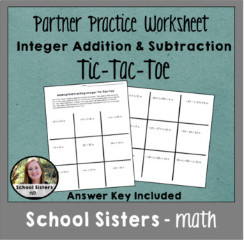 Integer Addition and Subtraction Tic-Tac-Toe