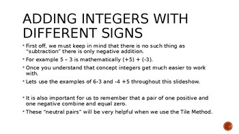 Integer Addition with different signs powerpoint