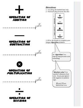 Integer Algorithm Foldable (Operations for Integers)