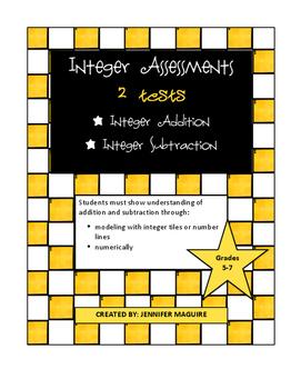 Integer Assessments - Addition & Subtraction