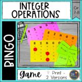 Integer Operations BINGO Math Game